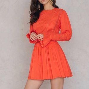 Free People Pleated L/S Clementine Mini Dress
